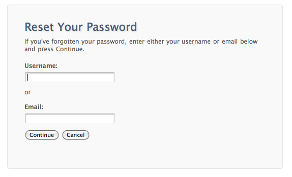 Reset Your Password page